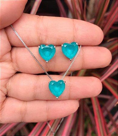 Conjunto coração pequeno com pedra turmalina