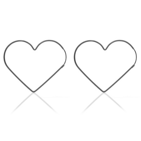 Brinco argola coração metal