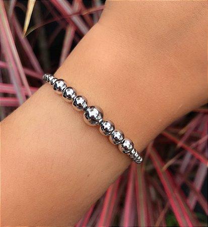 Pulseira bracelete maleável bolinhas grandes e pequenas
