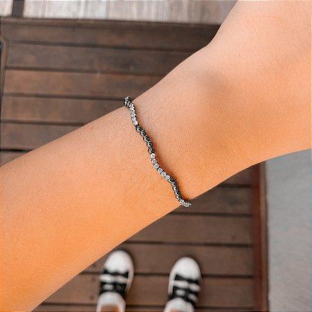 Pulseira bracelete maleável bolinhas e zirconias cristais