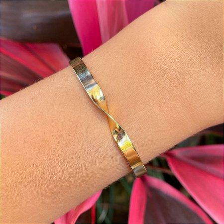 Pulseira bracelete rígido metal banhada a Ouro 18K
