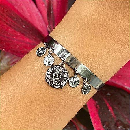 Pulseira bracelete medalhas moedas
