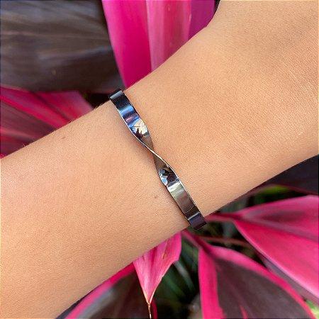 Pulseira bracelete rígido metal banhada Ródio Negro