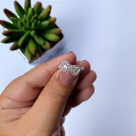 Anel coração duplo cristal banhado em Ródio Branco