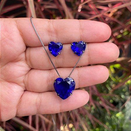 Conjunto coração azul safira