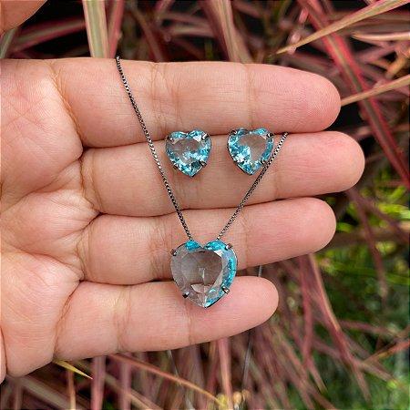 Conjunto coração azul acqua