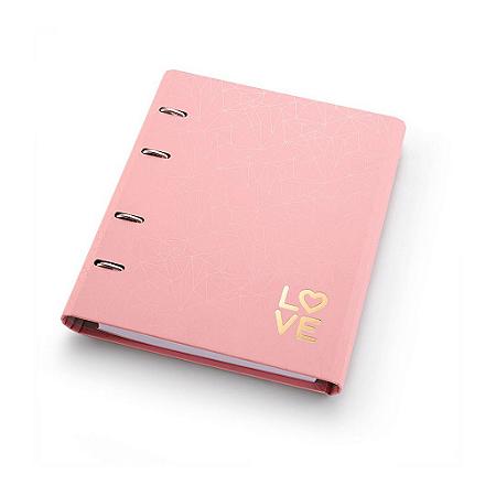 Fichário Caderno Argolado FC177 Pink Stone Geométrico Ótima Gráfica 4501-2