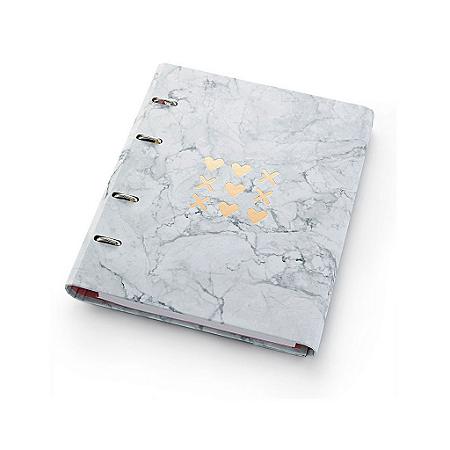 Caderno Argolado Fichário Ótima Gráfica FC177 Pink Stone Mármore 21x25cm 4500-5