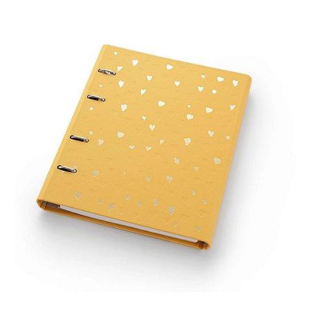 Caderno Argolado Fichário Ótima Gráfica FC177 Romantic Amarelo 21x25cm 4591-3