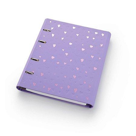 Caderno Argolado Fichário Ótima Gráfica FC177 Romantic Lilás 21x25cm 4590-6