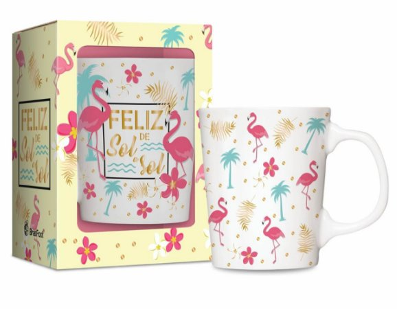 Caneca Porcelana 280mL Flamingo Brasfoot 2200