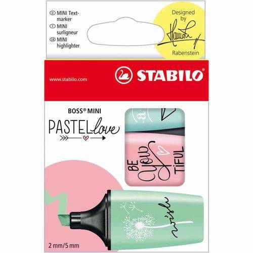 Marca Texto Stabilo Pastel Love Mini - Estojo 3 cores