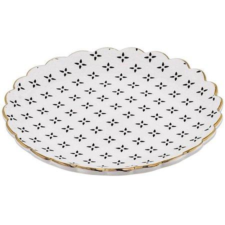 Mini Prato Cerâmica Decorativo Bandeja Preto e Branco 7772