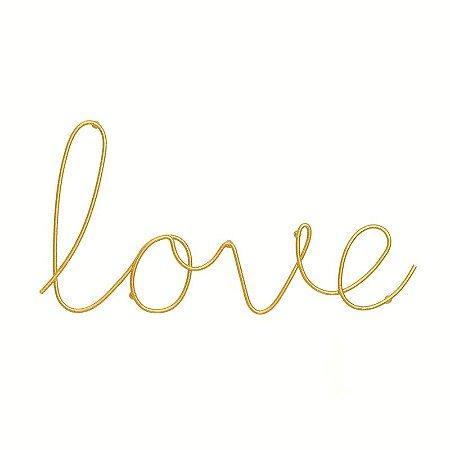 "Letreiro Decorativo ""Love"" Dourado 14,5x28,5cm"