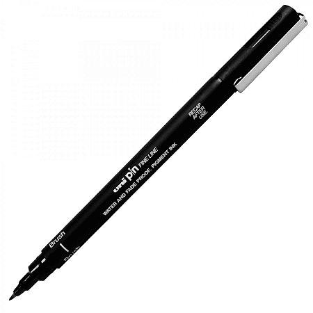 Caneta Brush Preta Uni Pin BR-200