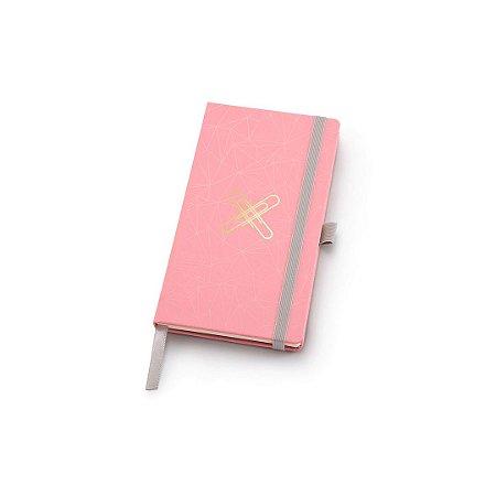 Caderneta Ótima Gráfica Papertalk Slim Pontilhado Pink Stone Geométrico 4509-8