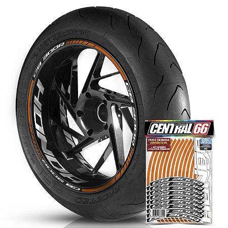 Adesivo Friso de Roda M1 +  Palavra CB 300 R + Interno G Honda - Filete Laranja Refletivo