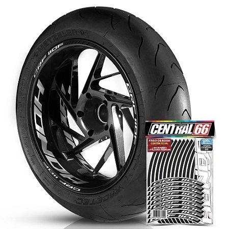 Adesivo Friso de Roda M1 +  Palavra CRF 110F + Interno G Honda - Filete Preto