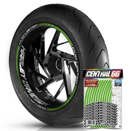 Adesivo Friso de Roda M1 +  Palavra CVO LIMITED + Interno G Harley Davidson - Filete Verde Refletivo