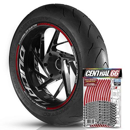 Adesivo Friso de Roda M1 +  Palavra SCRAMBLER CUSTOM + Interno G Ducati - Filete Vermelho Refletivo