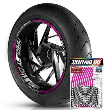 Adesivo Friso de Roda M1 +  Palavra HERITAGE CLASSIC + Interno G Harley Davidson - Filete Rosa