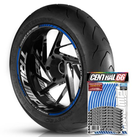 Adesivo Friso de Roda M1 +  Palavra ROCKET III CLASSIC + Interno G Triumph - Filete Azul Refletivo