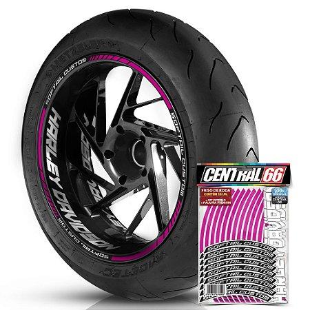 Adesivo Friso de Roda M1 +  Palavra SOFTAIL CUSTOM + Interno G Harley Davidson - Filete Rosa