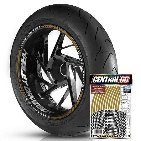 Adesivo Friso de Roda M1 +  Palavra CVO LIMITED + Interno G Harley Davidson - Filete Dourado Refletivo