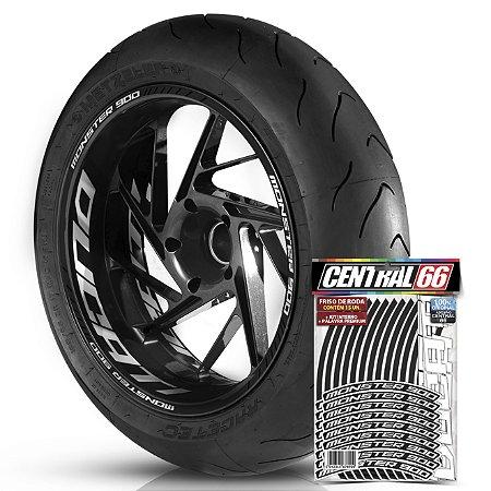 Adesivo Friso de Roda M1 +  Palavra MONSTER 900 + Interno G Ducati - Filete Preto