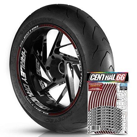 Adesivo Friso de Roda M1 +  Palavra ELECTRA + Interno G Harley Davidson - Filete Vinho