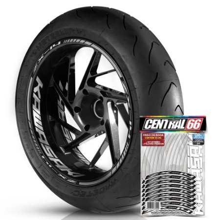 Adesivo Friso de Roda M1 +  Palavra ZX-14 + Interno G Kawasaki - Filete Prata Refletivo