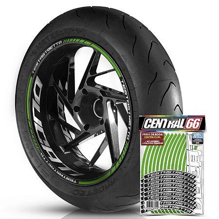 Adesivo Friso de Roda M1 +  Palavra TESTASTRETTA + Interno G Ducati - Filete Verde Refletivo