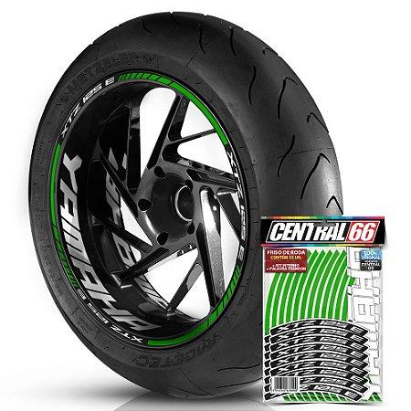Adesivo Friso de Roda M1 +  Palavra XTZ 125 E + Interno G Yamaha - Filete Verde Refletivo