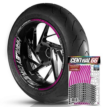 Adesivo Friso de Roda M1 +  Palavra V-ROD VRSCA + Interno G Harley Davidson - Filete Rosa