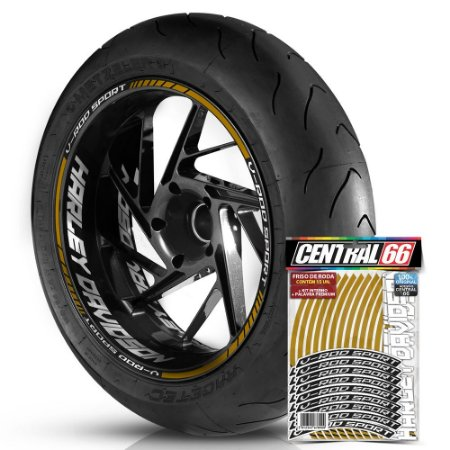 Adesivo Friso de Roda M1 +  Palavra V-ROD SPORT + Interno G Harley Davidson - Filete Dourado Refletivo