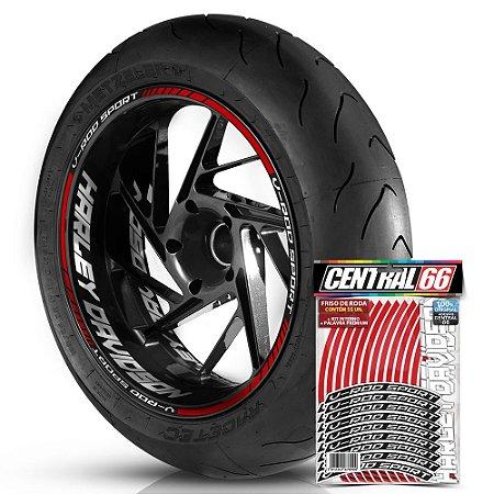 Adesivo Friso de Roda M1 +  Palavra V-ROD SPORT + Interno G Harley Davidson - Filete Vermelho Refletivo