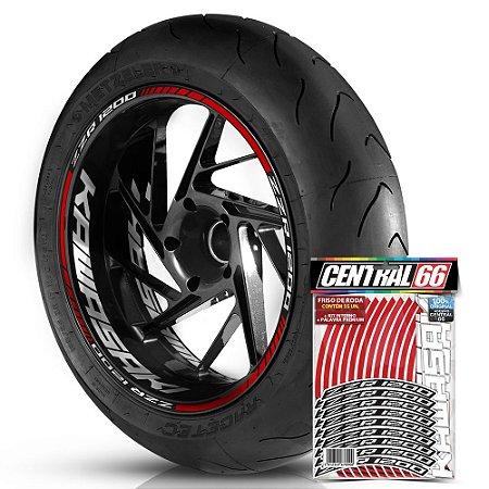 Adesivo Friso de Roda M1 +  Palavra ZZR 1200 + Interno G Kawasaki - Filete Vermelho Refletivo