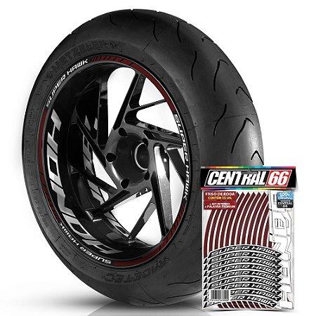 Adesivo Friso de Roda M1 +  Palavra SUPER HAWK + Interno G Honda - Filete Vinho