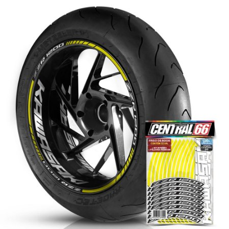 Adesivo Friso de Roda M1 +  Palavra ZZR 1200 + Interno G Kawasaki - Filete Amarelo