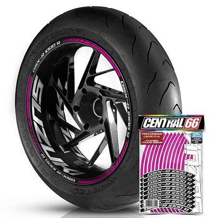 Adesivo Friso de Roda M1 +  Palavra GSX-R 1000 R + Interno G Suzuki - Filete Rosa