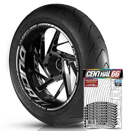 Adesivo Friso de Roda M1 +  Palavra DUCATI 998 + Interno G Ducati - Filete Branco