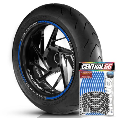 Adesivo Friso de Roda M1 +  Palavra CB 1000R + Interno P Honda - Filete Azul Refletivo