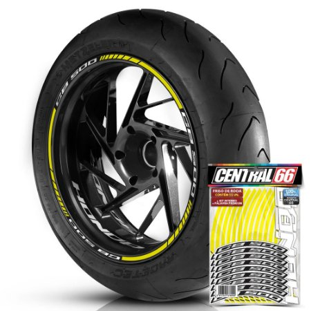 Adesivo Friso de Roda M1 +  Palavra CB 500 + Interno P Honda - Filete Amarelo