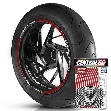 Adesivo Friso de Roda M1 +  Palavra CBR 450 + Interno P Honda - Filete Vermelho Refletivo