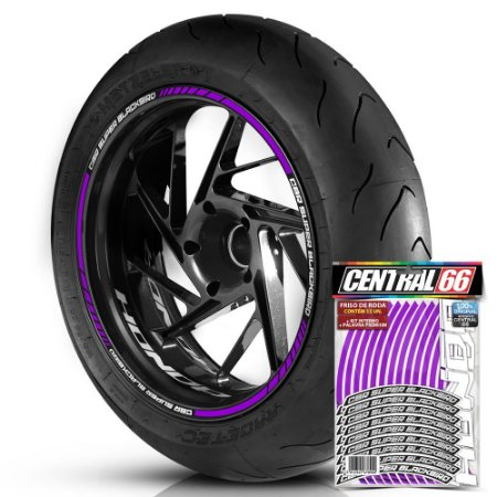 Adesivo Friso de Roda M1 +  Palavra CBR SUPER BLACKBIRD + Interno P Honda - Filete Roxo