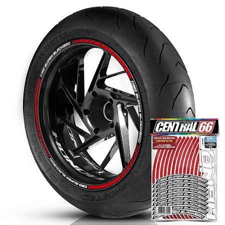 Adesivo Friso de Roda M1 +  Palavra CBR SUPER BLACKBIRD + Interno P Honda - Filete Vermelho Refletivo