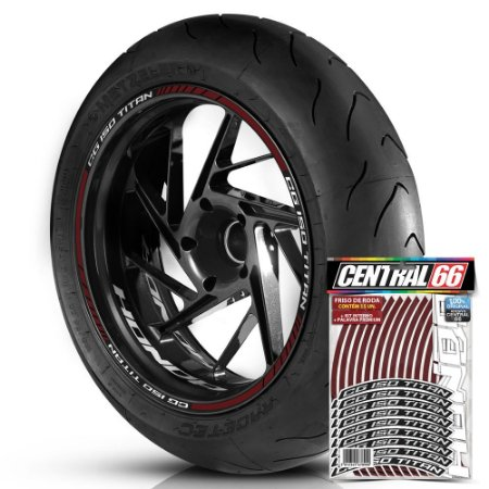 Adesivo Friso de Roda M1 +  Palavra CG 150 TITAN + Interno P Honda - Filete Vinho