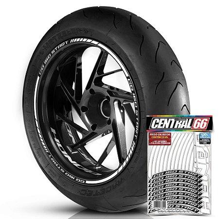 Adesivo Friso de Roda M1 +  Palavra CG 160 START + Interno P Honda - Filete Branco