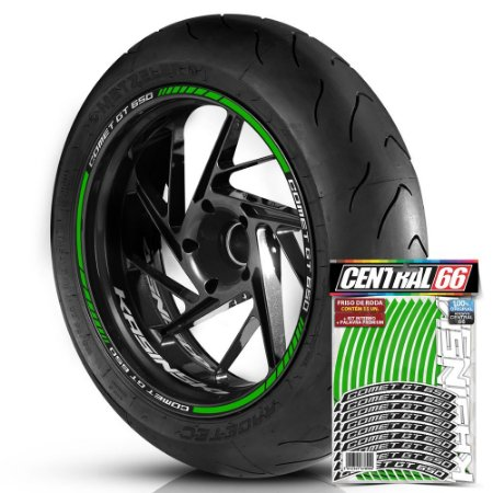 Adesivo Friso de Roda M1 +  Palavra COMET GT 650 + Interno P Kasinski - Filete Verde Refletivo