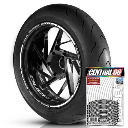 Adesivo Friso de Roda M1 +  Palavra DIAVEL 1198 CARBON + Interno P Ducati - Filete Branco